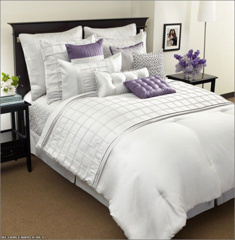 love all the pillows: Dreams Bedrooms, White And Purple Bedrooms, Beyonce Houses,  Comforter,  Puff, Decor Ideasdiy, Bedrooms Decor, Bedrooms Ideas, Bed