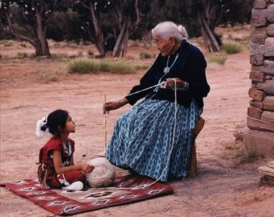 Supported spindle spinning, Navajo Generations learning and sharing with each other.
