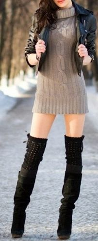 mini sweater dress + black boots + thigh high socks + denim jacket :) Just need the body to go with it now.