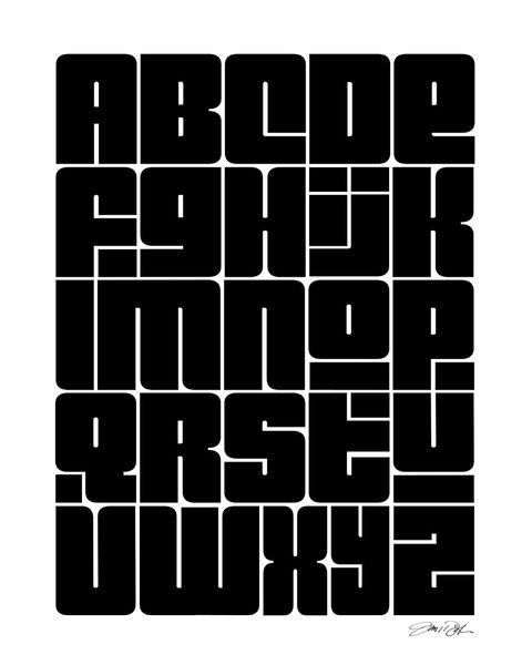 Alphabet Art Modern Black Gray Teachers ABC's by Inspireuart