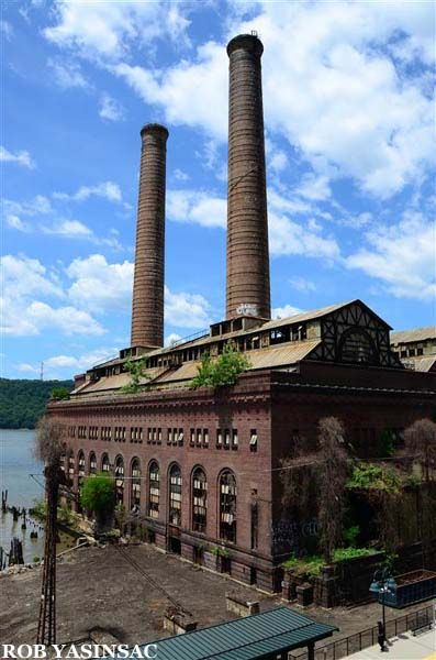 :. Yonkers Power Station (Glenwood) - New York Central & Hudson River Railroad (1904). It was built as part of the electrification of the rail lines spurred in part by dangerous conditions caused by steam engines and related smoke, and also by the need for a completely new and larger Grand Central Terminal. Supposedly it is structurally sound and an application for landmark status is pending. Metro North Hudson Line trains pass right by this building.  It's quite a fascinating sight.