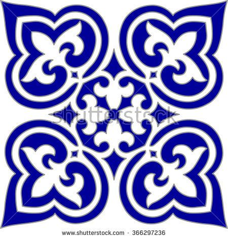 Geometric Islamic Seamless Pattern Arabesque blue and white, square