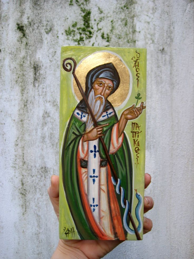 St Patrick the patron of Ireland, vanquishing the snakes from the island.