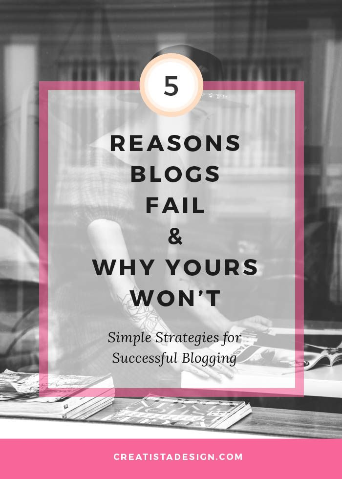 5 Reasons blogs fail and why yours won't: strategies for successful blogging. From lack of strategy to a lack of community of support, bloggers can face a downhill struggle to realise dreams. This post outlines some surefire do-able actions to growing a long-term successful blog. Click to read more and repin for a future read...