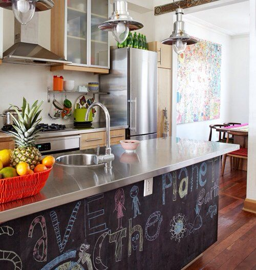 child-friendly kitchen with blackboard