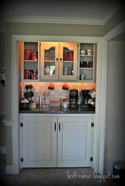 Would be col for drinking bar instead. . . . Hallway closet makeover into coffee bar!
