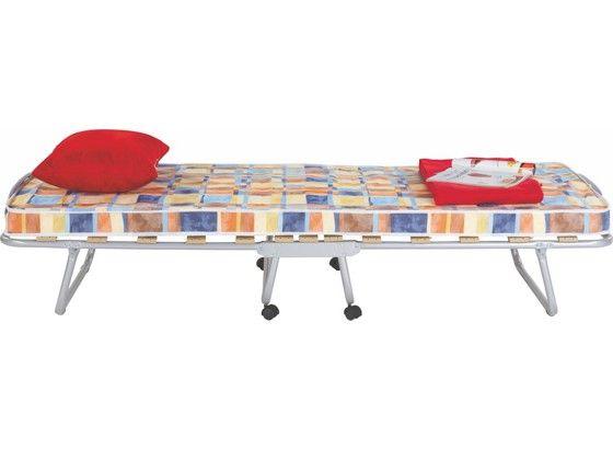 Praktická postel pro návštěvu, kovová s koleškama, roštem a matrací.