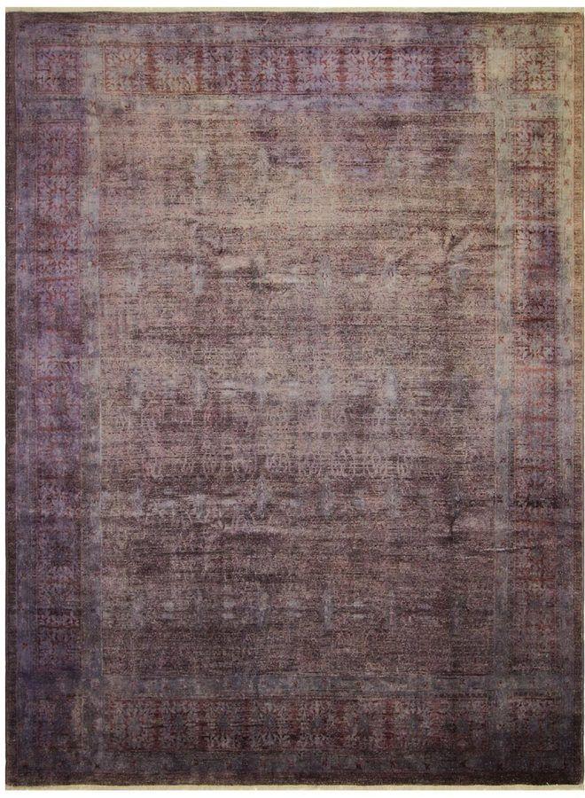 Noori Rug Distressed Overdyed Moubarak Hand-Knotted Wool Oriental Rug