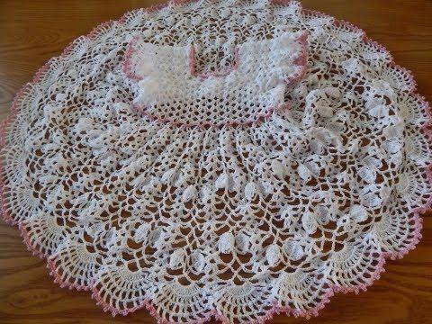 Patrones Crochet, Manualidades y Reciclado: VESTIDO DE ABANICOS EN CROCHET PARA NIÑA PASO A PA...