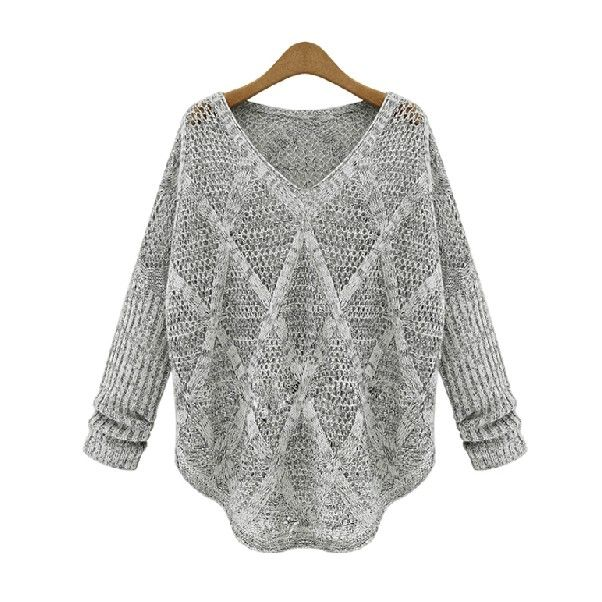 Casual Loose V Neck Hollow Out Grey Sweater For Women