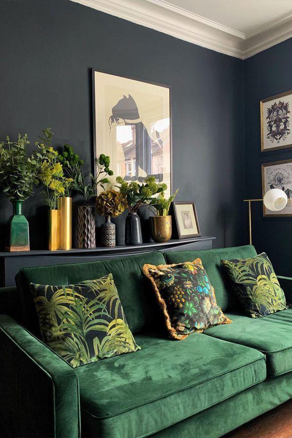 PALMERAL Large Velvet Cushion – Midnight/Green [Credit: @houselust via Instagram