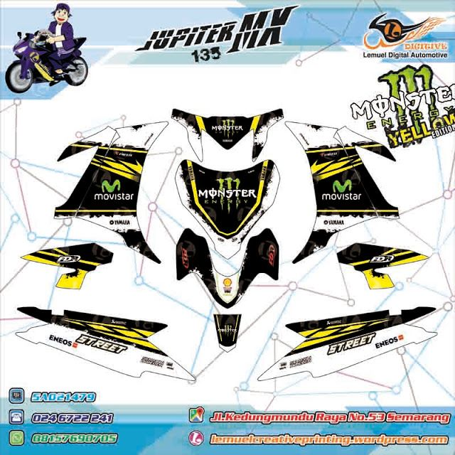 Custom Decal Vinyl Full Body Striping Motor Yamaha Jupiter New MX KING Thema Monster Energy Yellow Stabillo by DIGITIVE