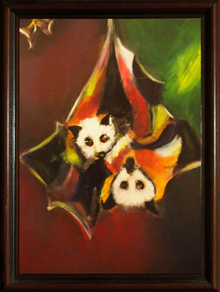 Original painting of 2 bats by Penny Arnold www.pennyarnold.com