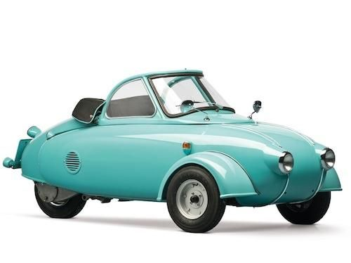 1957 Jurisch Motoplan – This prototype was the vision of engineer and motorcycle racer Carl Jurisch. The German saw the benefits of a vehicle that could combine the a car and a motorcycle. It utilized Messerschmitt and Heinkel components, and was used by Jurisch for a short time before he sent it to the US in an attempt to market the car. It sat unloved in Florida until the 1970s when a microcar collector purchased it and was able to track the car's mysterious and fascinating history.