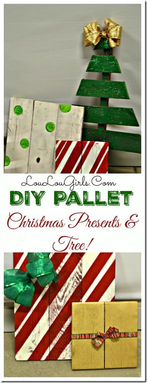 Creative stamding DIY Christmas tree from wood with pallet presents