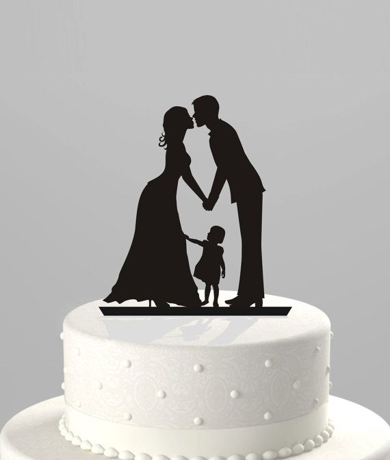 Wedding Cake Topper Silhouette Groom and Bride by TrueloveAffair. The only one I've seen with a kid. LOVE THIS!