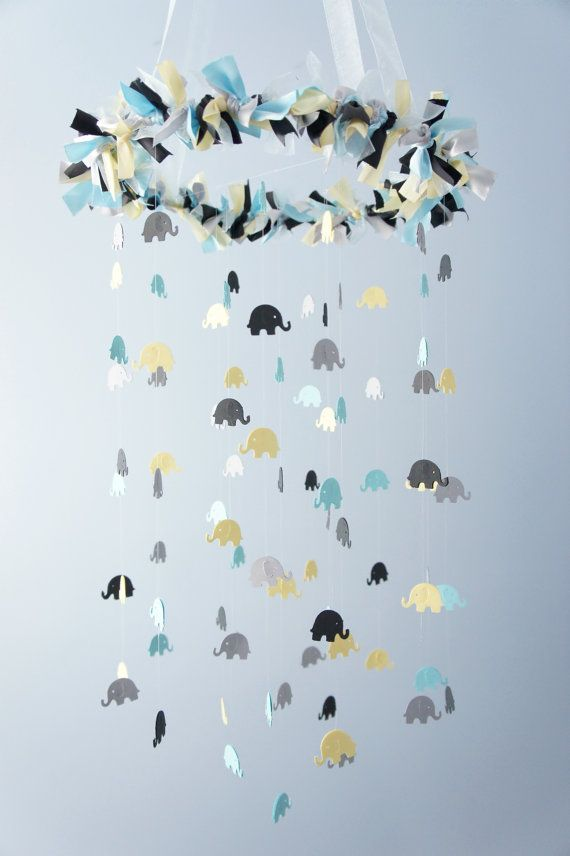 Blue Elephant Mobile for Baby Nursery in Blue by LoveBugLullabies - could make little sheep (counting sheep)