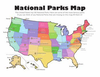 Us national parks map pdf