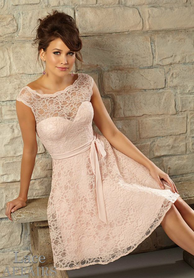 Blush pink lace bridesmaid dress