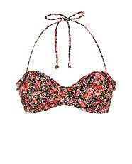 Black Pattern (Black) Kelly Brook Ditsy Floral Frill Trim Bikini Top    302500609   New Look