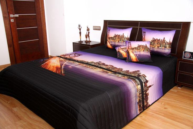 Luxusné prehozy na posteľ 3D vzor veľkomesto