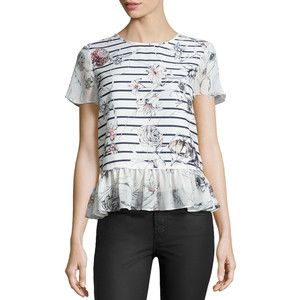 Marchesa Voyage Striped Floral-Print Peplum Top