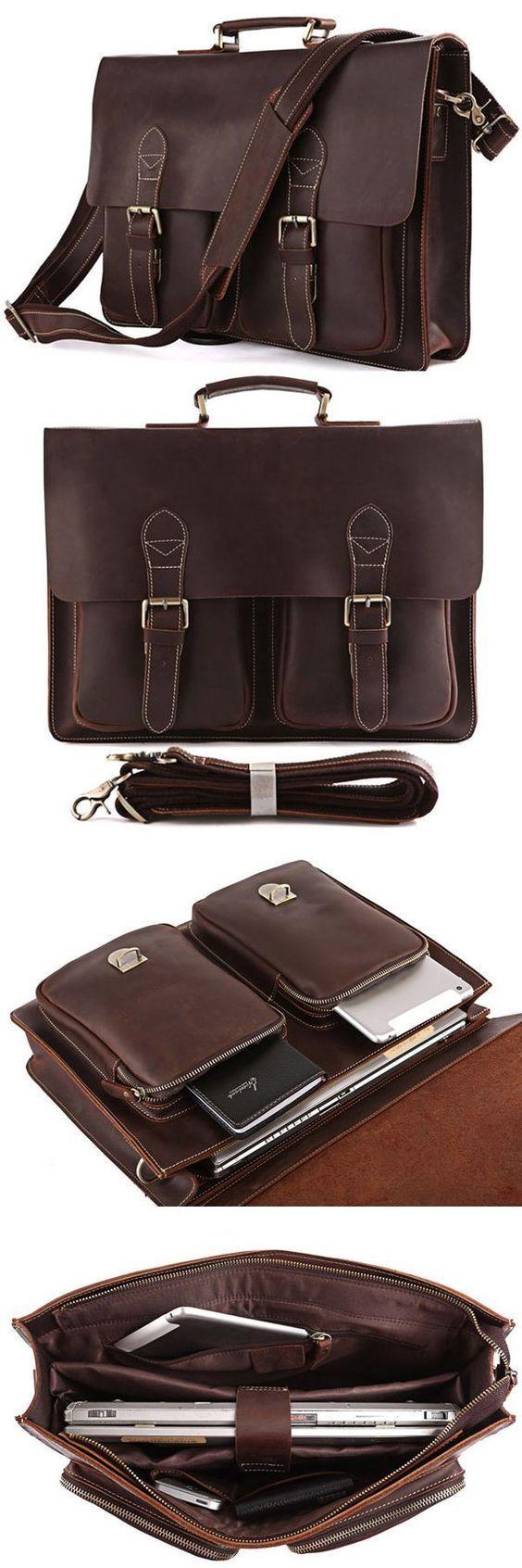 Vintage Leather Briefcase Men Messenger Bag Laptop Bag
