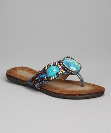 Take a look at this Blue Bead Chloe Sandal by LAMO on #zulily today!