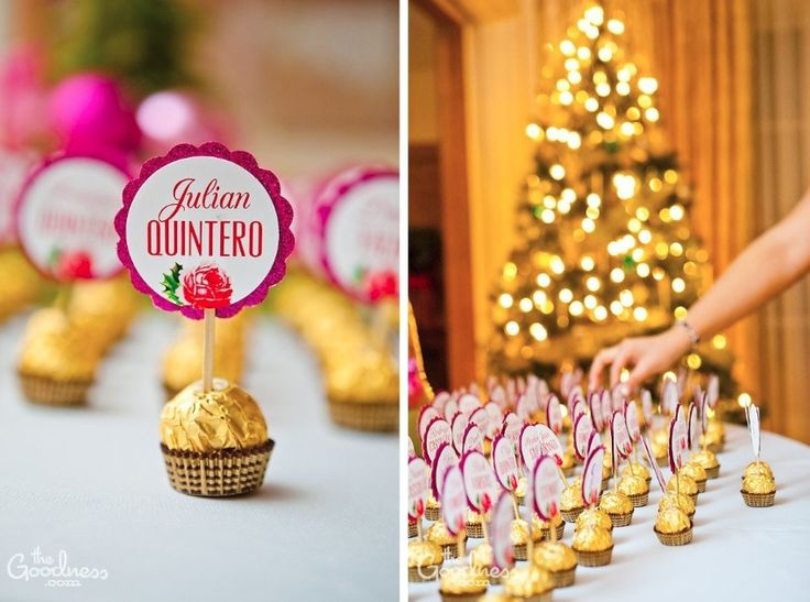 Retro pink Christmas chocolate escort cards by The Goodness