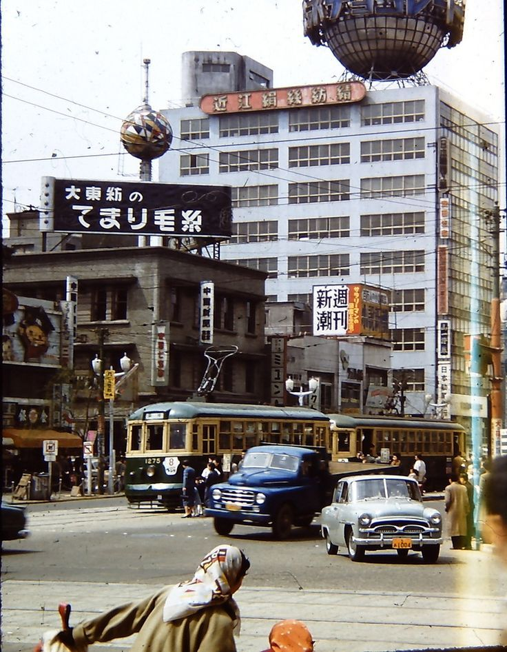 Wish they still made cars like that Japanese street - Tokyo, Japan - 1955 Nippon-Graph