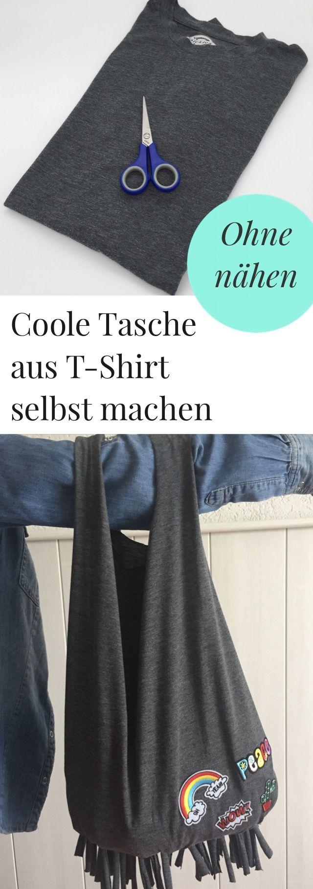 Tasche ohne nähen aus einem T-Shirt selber machen