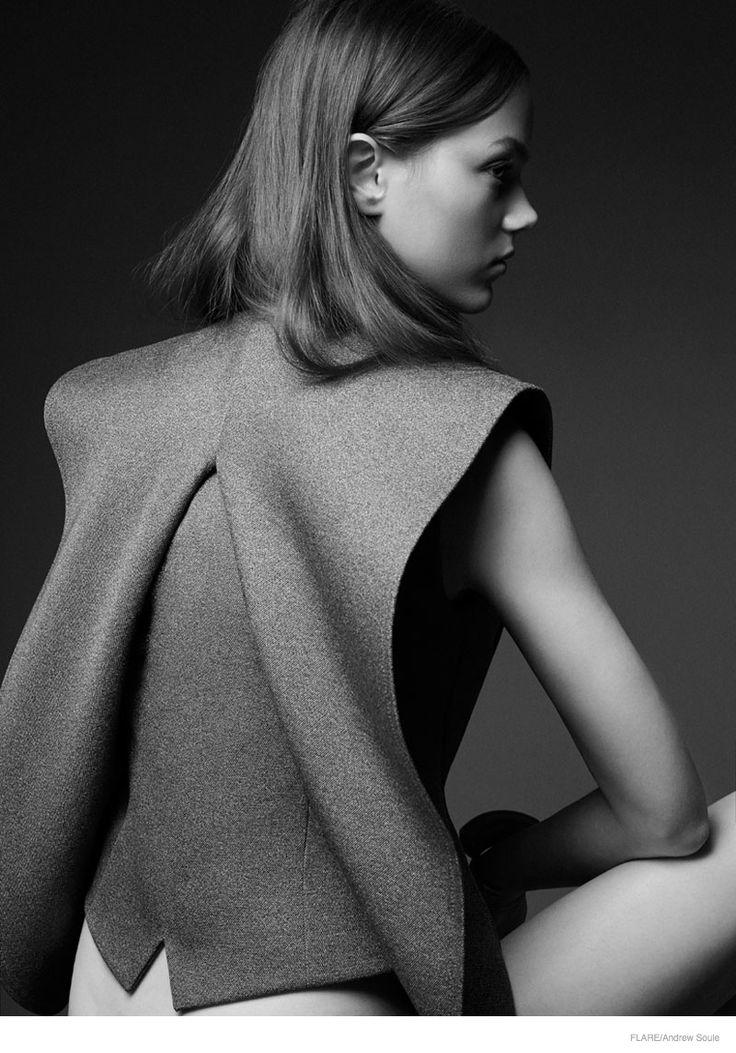 Architectural fashion construction - jacket back detail; creative pattern cutting; modern tailoring // Balenciaga, Flare editorial