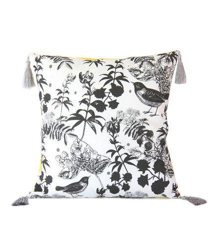 Black Wildflower Cushion Fabric designed by Cloud Nine Creative  www.cloudninecreative.co.nz