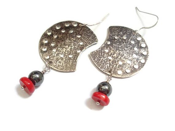 Hammered Silver Crescents Sterling Silver Earrings Coral