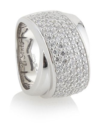Silver 'Ti Sento' ring with 'nuff bling to blind a few people...