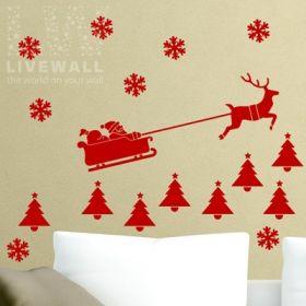Αυτοκόλλητα Τοίχου Χριστουγεννιάτικα Στολίδια Σετ 3