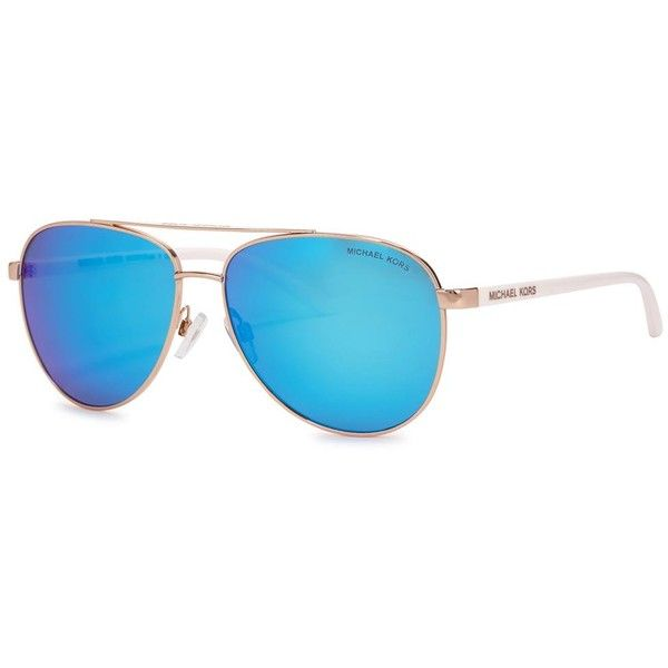 Womens Aviator Michael Kors Blue Aviator-style Mirrored Sunglasses (265 AUD) ❤ liked on Polyvore