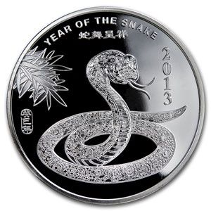 2013 Year of the Snake Silver Coin 1/2 oz .9999 Fine 2013_SILVER_YEAR_OF_THE_SNAKE_0-5_OZ - $28.99