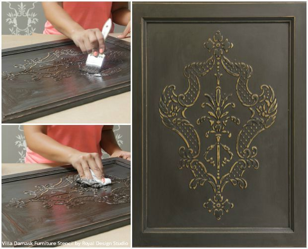 How to Stencil Tutorial: Create a Carved Wood Effect with Stencils and Wood Icing™ - Royal Design Studio Furniture Stencils