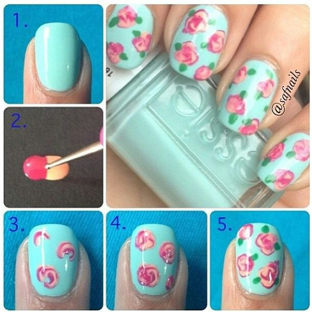 Another Cute Variation To The Previous Rose Nail Tutorial