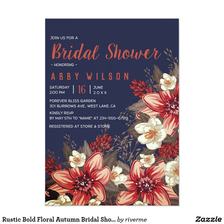 bridal shower invitations vector free%0A Rustic Bold Floral Autumn Bridal Shower Card