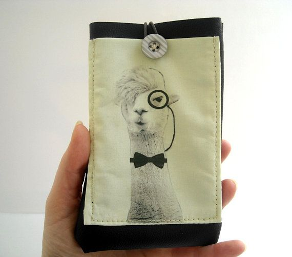 Llama case, Alpaca iPhone 8 wallet sleeve, necklace eyeglass holder with pocket, black eco leather eyewear case with fun intellectual llama #llama #alpaca #nerd #giftideas #iphonecase #eyeglasses #phonecases