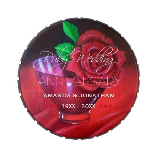 40th Ruby Wedding Anniversary Commemorative Candy Tin