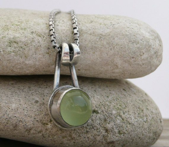 Pendant Necklace, Sterling Silver Pendant, Lime Chalcedony Cabochon Pendant, Gemstone Pendant.