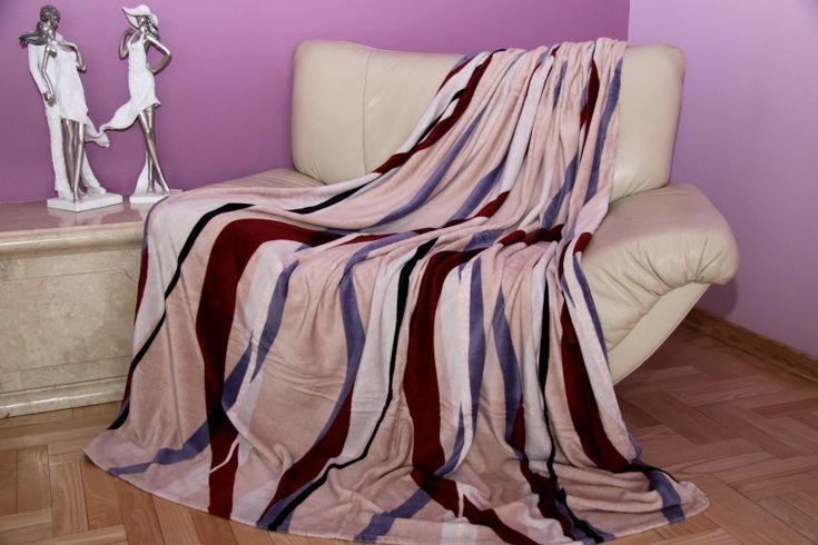 Béžová deka s hnedo modrými pruhmi
