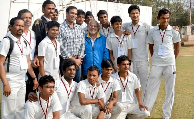 Former Test cricketer V.V.S. Laxman and Dronacharya S.M. Arif seen with some of the deaf cricketers at Gymkhana Ground in Hyderabad.