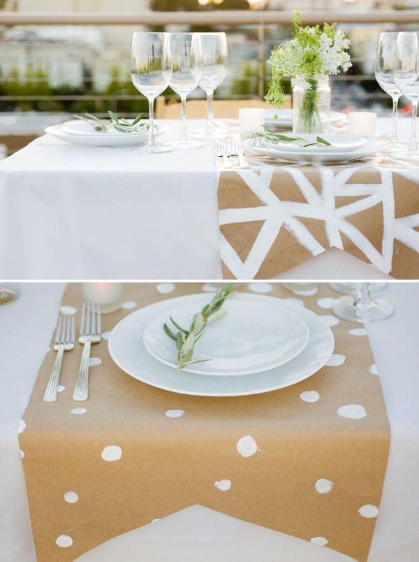 Placesettings ~ Diy for parties using paper with a dot of paint from a round object ~ Can make as long as you need and is inexpensive to make.