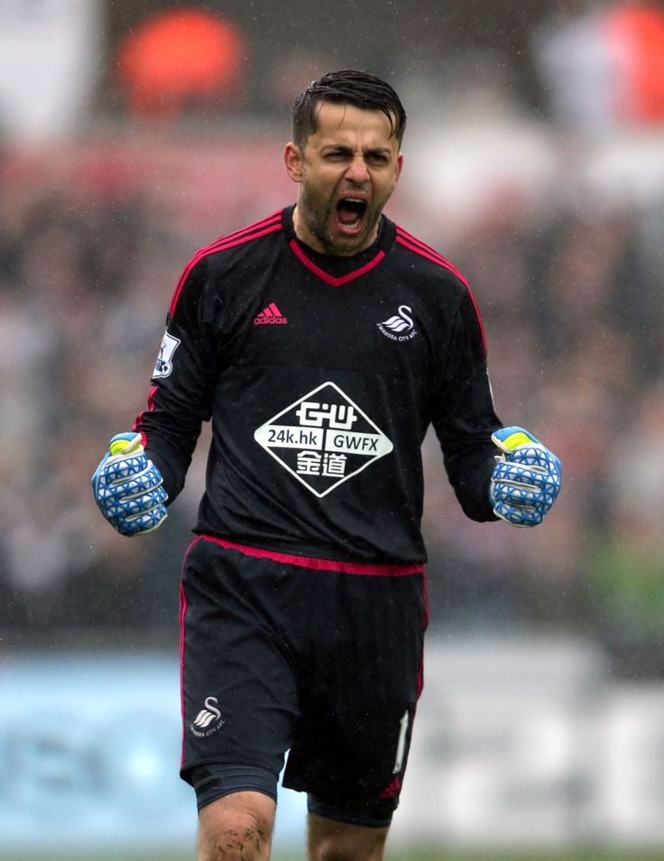 Lukasz Fabianski celebrates Swansea's third goal scored by Andre Ayew in the win over Liverpool