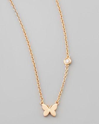 Butterfly Bezel-Diamond Pendant Necklace by SHY by Sydney Evan at Bergdorf Goodman.