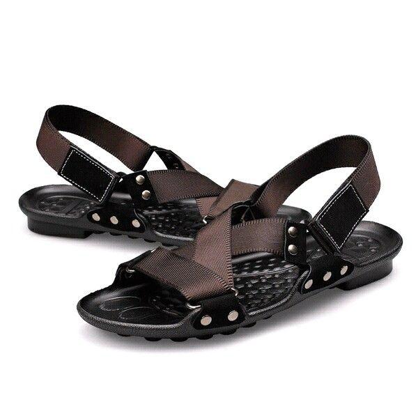 Luxury Italian Genuine Strap Sandals Leather Flip-flops Beach Sandals Men Summer Slipper Roman Shoes Green Brown